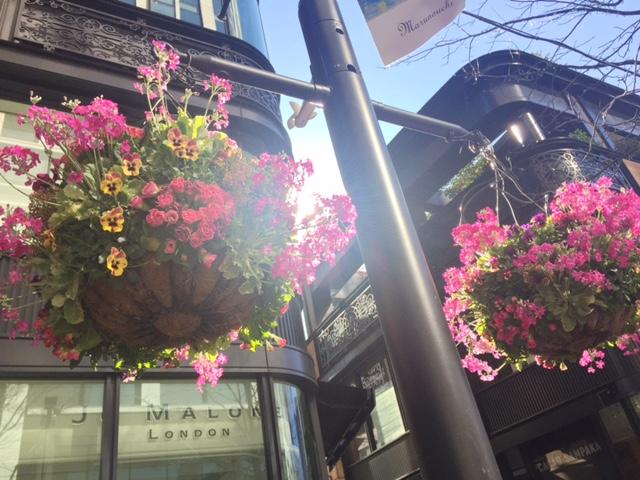 仲通りの花飾り